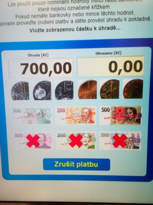 Automat na peníze na Magistrátu